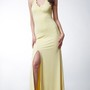 Long Jersey Dress with Side Slit and Keyhole Back