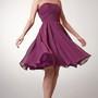 A-line Style Strapless Short Chiffon Dress