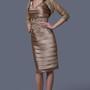 Elegant Pleated V-neck Formal Dress With Lace Jacket
