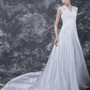 Romantic Cap-sleeved A-line Gown with Lace Bodice